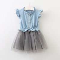 Wholesale girls pleated denim skirt for sale - years old baby dress girls Lotus leaf collar sleeveless Denim mesh patchwork dress cute Princess skirt H063