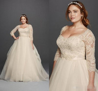 Wholesale tiers fashion - Plus Size 2018 Oleg Cassini Wedding Dresses 3 4 Sleeves Lace Sweetheart Covered Button Gloor Length Princess Fashion Bridal Gowns