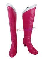 mädchen schuhe stiefel rosa großhandel-Sailor Moon Sailor Chibi Mond Mädchen rosa lange Cosplay Schuhe Stiefel X002