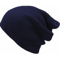 голубая красная шапочка оптовых-Зимний мужской капюшон Мужское вязание крючком Мешковатая шапка с напуском Женские кепки с черепами Темно-синий Красный Темно-серый Черный Армейский зеленый