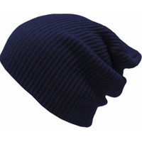 gorra del capo para hombre negro al por mayor-Winter Men Bonnet Manly Crochet Baggy Gorro de punto Slouchy Ladies Skull Caps Azul marino Rojo oscuro Gris Negro Army Green