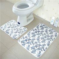 FA 3Pcs Pebbles Bath /& Pedestal Mat Toilet Lid Cover Non Slip Bathroom Rugs Nov