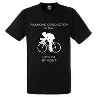 ventes de noël achat en gros de-CONDUCTEUR DE CHEMIN DE FER PAR JOUR CYCLISTE PAR NUIT CADEAU DE VÉLO XMAS DAD T-shirt à manches courtes T-shirt pour homme