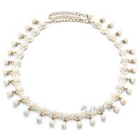 Wholesale tassel braiding - Hand Made DIY Waist Chain Delicate Braided White Pearl Tassel Straps For Women Waistband New Arrival 13jx B
