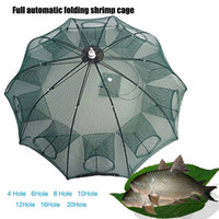 Wholesale minnow bait cage - 4 Holes Automatic Fishing Bait Net Trap Cast Dip Cage Crab Fish Minnow Shrimp Pond Foldable Easy catch net