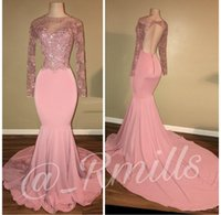 Wholesale White Sequin Designer Dress Cheap - Sexy Designer Pink Prom Dresses Open Back Long Sleeve Sheer Lace Applique Sequin Party Dress Evening Wear Cheap