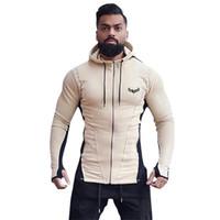 erkekler hooded kazak kazak toptan satış-Erkek Açık Patchwork Kapüşonlu Kazak Ceket Aktif Ince Spor Fermuar Hoodies Hırka Erkek Moda Rahat Tişörtü Ceket Tops