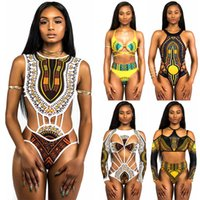 Wholesale african suits - African Swimwear Totem Print Swimsuit Bikini Set Women Sexy Strappy Bandage Bikinis Cut-Out One Piece Bathing Suits XYJH0202