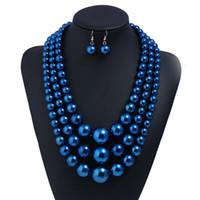 joyería de cristal blanco de la joyería fija al por mayor-Conjuntos de collar y aretes de múltiples capas para fiesta de aniversario de royalblue pearl vestido de noche para damas venta caliente