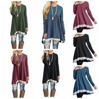 spitze batwing kleid großhandel-Frauen Langarm-lose Shirt Kleid Print Tunika Tops Damenmode Bluse Spitzenkleid Shirt Damenbekleidung KKA3908