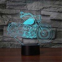 идеи ночных огней оптовых-3D Glow LED Night Light Motorcycle2 Вдохновение 7 Цветов Оптическая Иллюзия Лампа Сенсорный Датчик для Домашней Партии Фестиваль Декор Отличная Идея Подарка