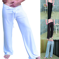 Wholesale mens white yoga pants for sale - Mens Pants Man Sleep Bottoms Viscose Home Fitness Yoga Pants Loose Sexy Mens Lounge Pants Milk Silk Fashion Strap sexy Male Pajamas