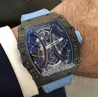 Wholesale black titanium watch - New RM 53-01 Pablo Mac Donough Black TPT Forged CarbonTitanium Case skeleton Hanging Wire Rope Dial Automatic Mens Watch Blue Nylon Strap