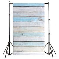 Wholesale wood floor photography backdrops - ETC-3x5ft Light Blue Wood Wall Floor Backdrop Backgrounds Studio Photography Props