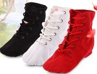 chaussures de ballet à lacets achat en gros de-Mode enfants cheville jazz danse chaussures filles lace-ballet danse chaussures enfants souple respirant toile gymnase fitness chaussures de pratique F2345