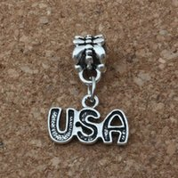 Wholesale usa bracelets online - MIC Dangle Antiqued Silver Alloy Single sided USA Charm Big Hole Bead Fit Charm Bracelet Jewelry x23mm A a