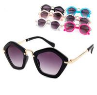 óculos brancos para meninas venda por atacado-6 cores crianças polígono óculos de sol quente verão nova chegada na moda meninos meninas branco preto uv400 óculos de sol moda quadro crianças eyewear
