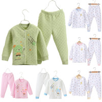 Wholesale cardigan pajamas - 3 Layers Winter Baby Boys Pajamas Clothes Suit 100% Cotton Newborn Sleepwear Thick Kids Nightgown Long Sweater Cardigan Trouser Pyjamas Sets