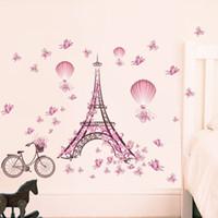 turm hintergrund großhandel-Großhandel DIY Paris Turm Rosa Nette Schmetterlinge Kunst Decor Home Schlafzimmer Wohnzimmer Hintergrund Wasserdichte Wandaufkleber Tapete 39x26
