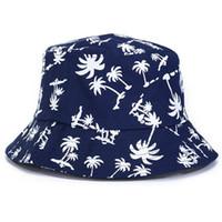 sombrero de cubo liso al por mayor-Hombres Mujeres Moda Panamá Llanura Bucket Cap Boonie algodón Árbol de coco playa de la impresión del verano del sombrero de Sun de vacaciones deporte al aire libre Grupo de caza Pesca
