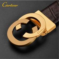 Wholesale Casual Wide Belts - New Fashion Mens Business luxury belt designer belt Smooth Buckle Genuine Leather belts for men brand designer Free shipping