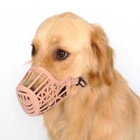 ingrosso grandi cani di plastica-Museruola regolabile in plastica di colore rosa scuro Articoli per animali domestici forti Impedica la mascherina della bocca del cane del morso per la formazione Maschera delle cinghie di regolazione anti-mordente