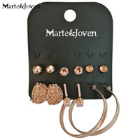 tachuelas de oro círculo grande al por mayor-Rose Gold Color 6 Pares / set Champagne Rhinestone Metal Studs Aretes para Damas Big Circle Metal Pendientes Mujeres