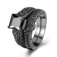 conjunto de anillos de novia corazón al por mayor-Sz5-10 fashion Black Gold Filled Sets Anillo de regalo nupcial Princess 8mm Black Zircon Heart Mujer