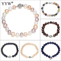 ingrosso braccialetto di perle d'acqua dolce nera-Braccialetto di perle coltivate d'acqua dolce Perle rotonde Braccialetto nero Accessori per gioielli da sposa Braccialetti di fascino per le donne