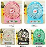 Wholesale cool laptops for sale online - 100 Tested Rechargeable LED Light Fan Air Cooler Mini Desk USB Battery Rechargeable Fan With Retail Package for PC Laptop hot sale