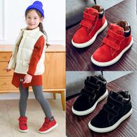 botas de goma para niños calientes al por mayor-2018 Otoño Invierno Niños Zapatos de Algodón Negro Marca de Niño Bebé Niña de Cuero de Gamuza Real Botas de Nieve Martin M602
