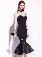 ingrosso abito casual nero fishtail-Donne Gothic Black Dress Strap Sexy Fishtail Lace Patchwork Dress Summer Backless Party Goth Mermaid Midi Plus Size