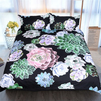 Wholesale country bedding sets queen for sale - Group buy Succulent Bedding Set Plants Printed Duvet Cover Pillowcases Green Pink Home Textiles Twin Queen King Size Bedclothes