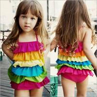 Wholesale rainbow swimsuit girls resale online - Children girls Candy colors rainbow Swimwear summer Cake layered Bikini Kids Six layers Flounced Swimsuit C3873