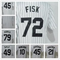 Wholesale blank green baseball jersey for sale - Group buy 2018 Men s Sox Shirt Frazier Michael Fisk Abreu Sale Konerko Blank White Strips Baseball Jerseys Stitched