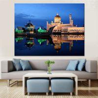 i̇slam posterleri toptan satış-Tuval Resimlerinde Ev Dekor Duvar Sanatı 1 Parça / Adet İslam Tapınak Resimleri HD Baskılar Nehir Tekne Bina Gece Poster Çerçevesi