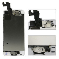 iphone 5c 5s lcd al por mayor-La mejor calidad A ++++ para iPhone 5 5C 5S LCD táctil Digitalizador de pantalla de reemplazo Conjunto completo Conjunto Blanco negro Cámara frontal + Botón de inicio + Herramienta