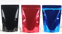 молния для продуктов питания оптовых-Встать Майлар Сумка для хранения продуктов питания Сумки из алюминиевой фольги Доказательство запаха Молния сумка красный черный синий