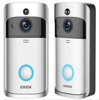 video real al por mayor-EKEN Smart Home Video Timbre de la puerta 720P HD para conexión WiFi Cámara de video en tiempo real Lente de audio bidireccional Visión nocturna de gran angular Movimiento PIR