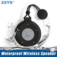 wasserdichtes lautsprechermikrofon großhandel-ZZYD Q50 Wasserdichte Drahtlose Lautsprecher Tragbare Mini Bluetooth Lautsprecher Freisprecheinrichtung Mikrofon Subwoofer Bad Musik Player für Smartphones