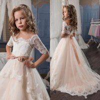 Wholesale Child Pink Fur Vest - Elegant Ball Gown Flower Girls Dresses For Weddings Sheer Neck Long Sleeves Applique Lace Tulle Children Wedding Dresses Girls Pageant Dress