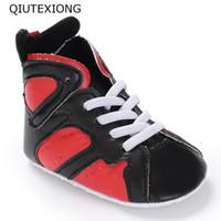 ingrosso nero mocassini del bambino-Baby Boots Rosso Nero Sport Scarpe Per Neonato High Top Toddler Sneakers Girl Shoes Mocassini Kids Casual 0-18M