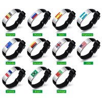 Wholesale silicone bracelet id - 2018 World Cup Ball Fans Silicone Bracelet Men Women Country Flag Black Rubber Mens Fashion Bangles Womens Jewelry Accessories