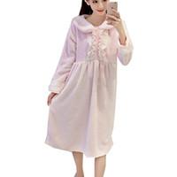 e0cf23677c 2016 Winter Warm Nightdress Women Soft Chemise De Nuit Vestidos Sleepwear  Long Sleeve Pink Pyjamas Female Kawaii Lace Nightgown