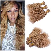 Wholesale Blonde Deep Wave Remy Extensions - #27 Brazilian Honey Blonde Human Hair Weaves Extensions 3Pcs Deep Wave Wavy Virgin Remy Human Hair Bundle Deals Brazilian Hair Double Wefts
