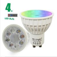 Wholesale cct led - Wholesale- Milight GU10 4W LED spotlight RGB+CCT indoor lamp AC85-265V 16 million colors changing,adjustable brightness colorful lighting