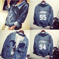 moda casual jeans chico al por mayor-Harajuku Moda BTS BT21 Bangtan Boy Jimin Suga Jungkook Kpop Ropa Streetwear Sudaderas con capucha Denim Jean Casual Béisbol chaqueta de abrigo S18101006
