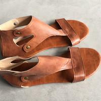 Wholesale Women Fashion Shoes Large Size - ANGUSH European Style Women Fashion Summer Sandals New Brand rivet Flats Shoes Female Large Size Leisure Leather Sandals Breathable 4 Colors
