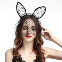 Wholesale Black Bunny Mask - Designer Nightclub Sexy Black Cat Bunny Ears Veil Headband Mask Women Hair Accessories Lace Sexy Lingerie Beautiful Hair Band
