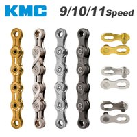 Wholesale bicycle chain links - KMC Chain 116 Links 9 10 11 Speed Bike Chain With Missing Connect Link Silvery Golden Light MTB Road Racing Bicycle Chain